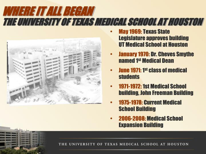 Where it all began the university of texas medical school at houston