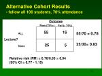 alternative cohort results follow all 100 students 70 attendance