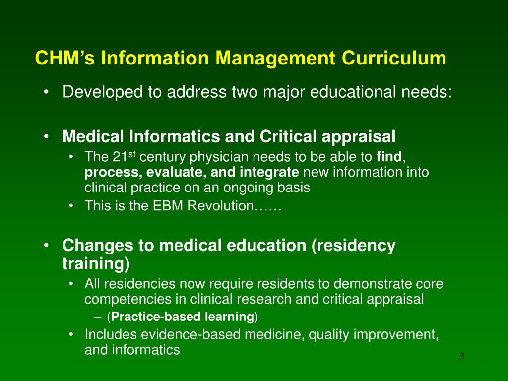 CHM's Information Management Curriculum