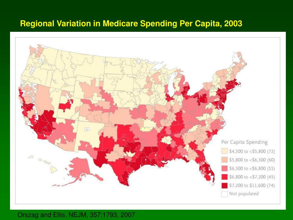 Regional Variation in Medicare Spending Per Capita, 2003