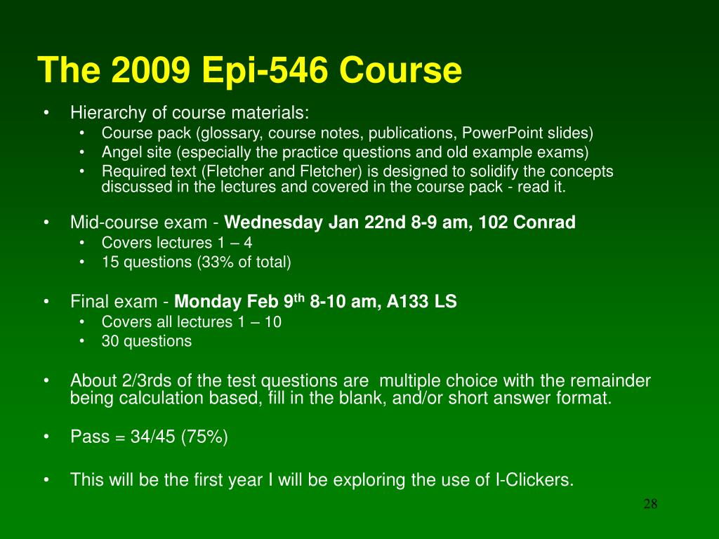 The 2009 Epi-546 Course