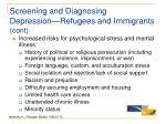 screening and diagnosing depression refugees and immigrants cont