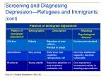 screening and diagnosing depression refugees and immigrants cont28