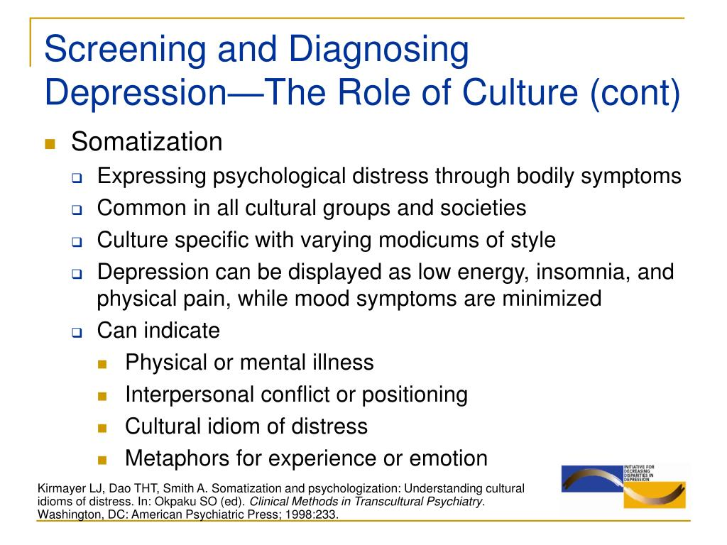 Screening and Diagnosing Depression—The Role of Culture (cont)