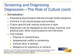 screening and diagnosing depression the role of culture cont