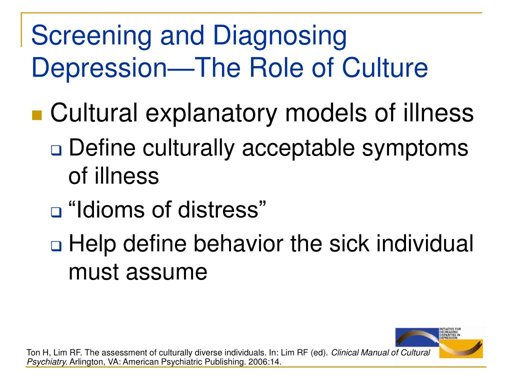 Screening and Diagnosing Depression—The Role of Culture