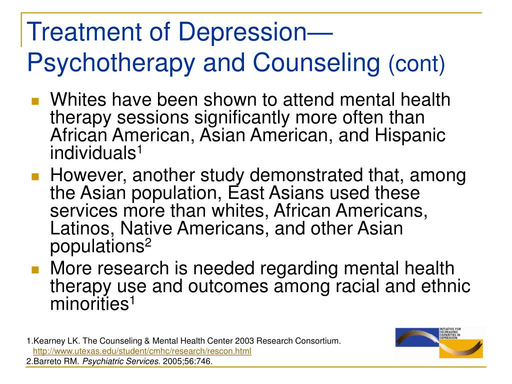 Treatment of Depression—Psychotherapy and Counseling