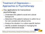 treatment of depression approaches to psychotherapy