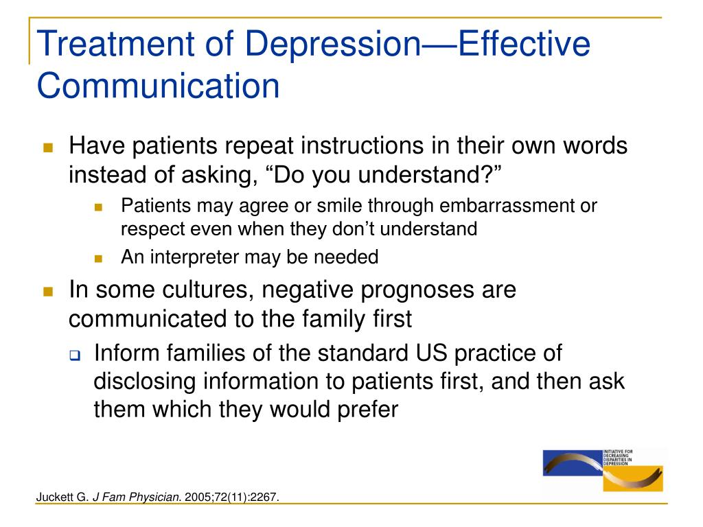Treatment of Depression—Effective  Communication