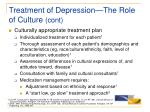 treatment of depression the role of culture cont