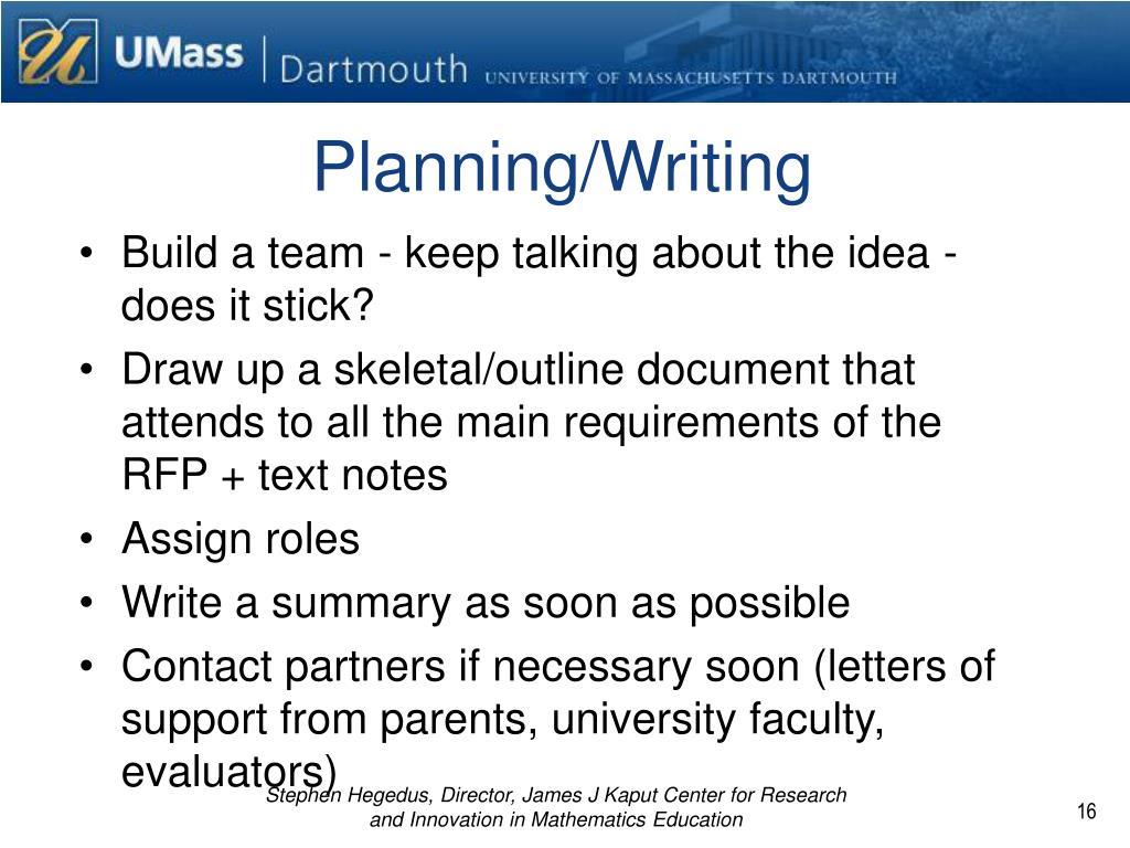 Planning/Writing