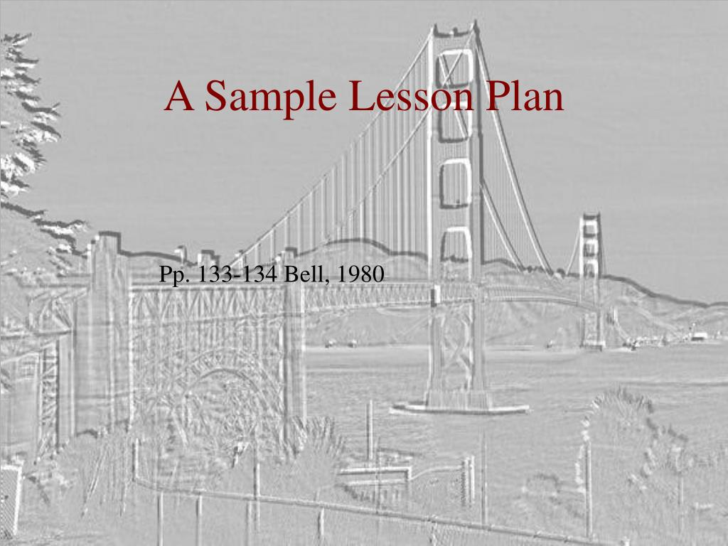 A Sample Lesson Plan