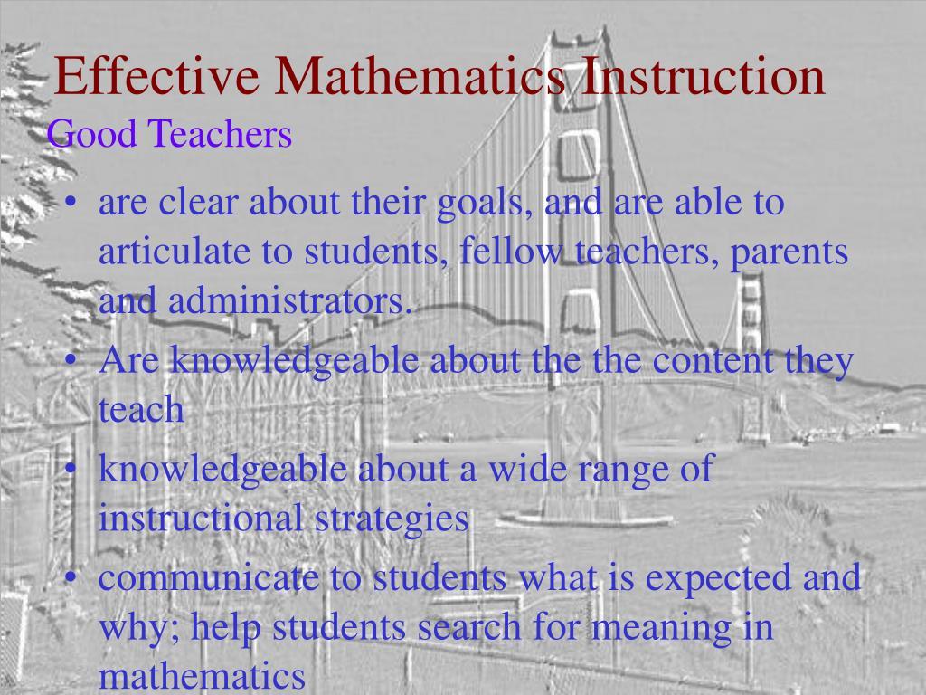 Effective Mathematics Instruction