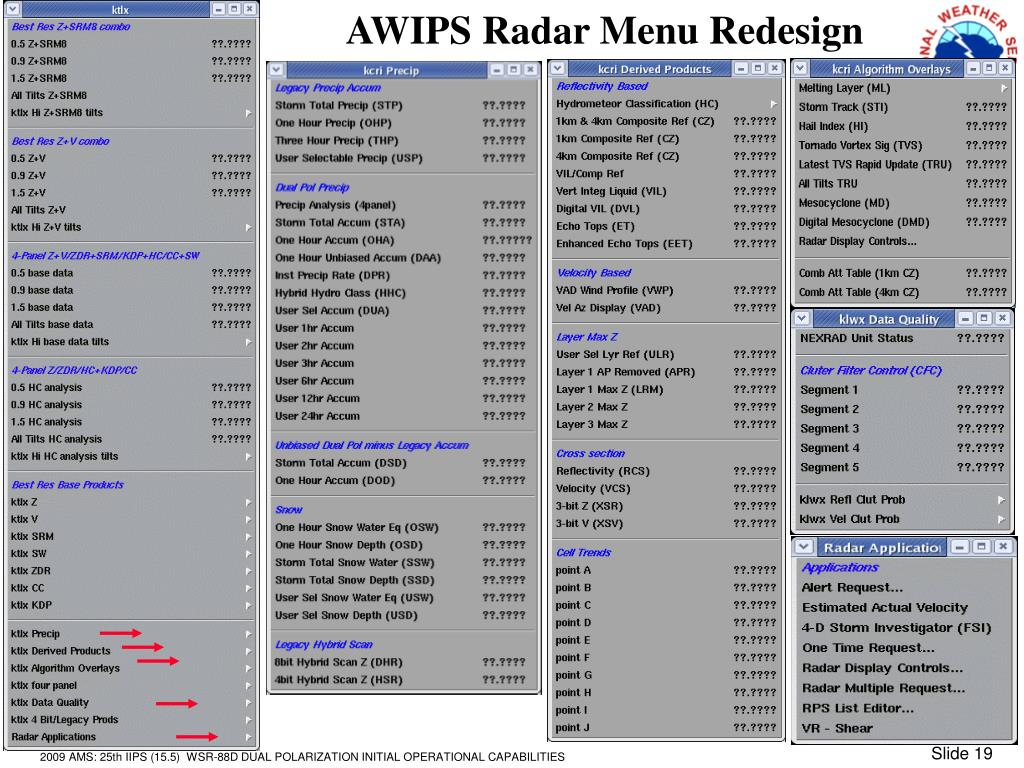 AWIPS Radar Menu Redesign