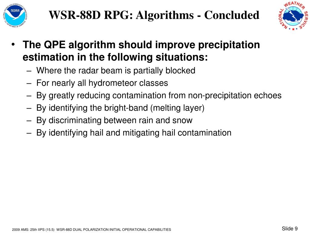 WSR-88D RPG: Algorithms - Concluded