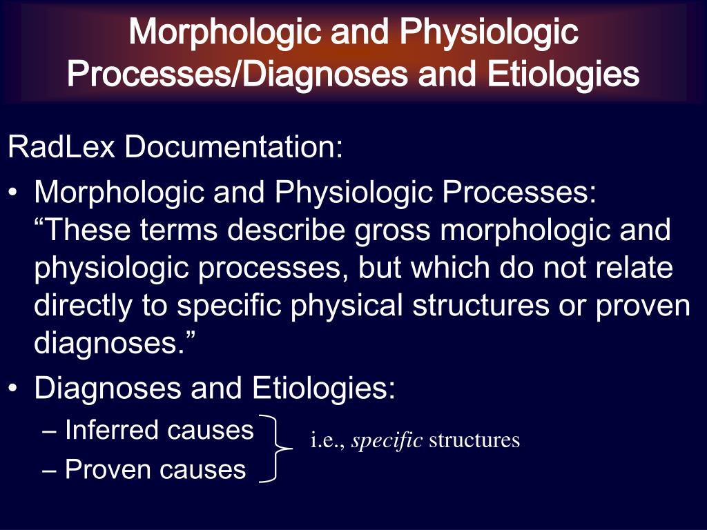 Morphologic and Physiologic Processes/Diagnoses and Etiologies
