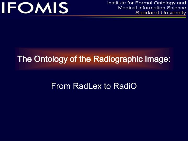 The ontology of the radiographic image