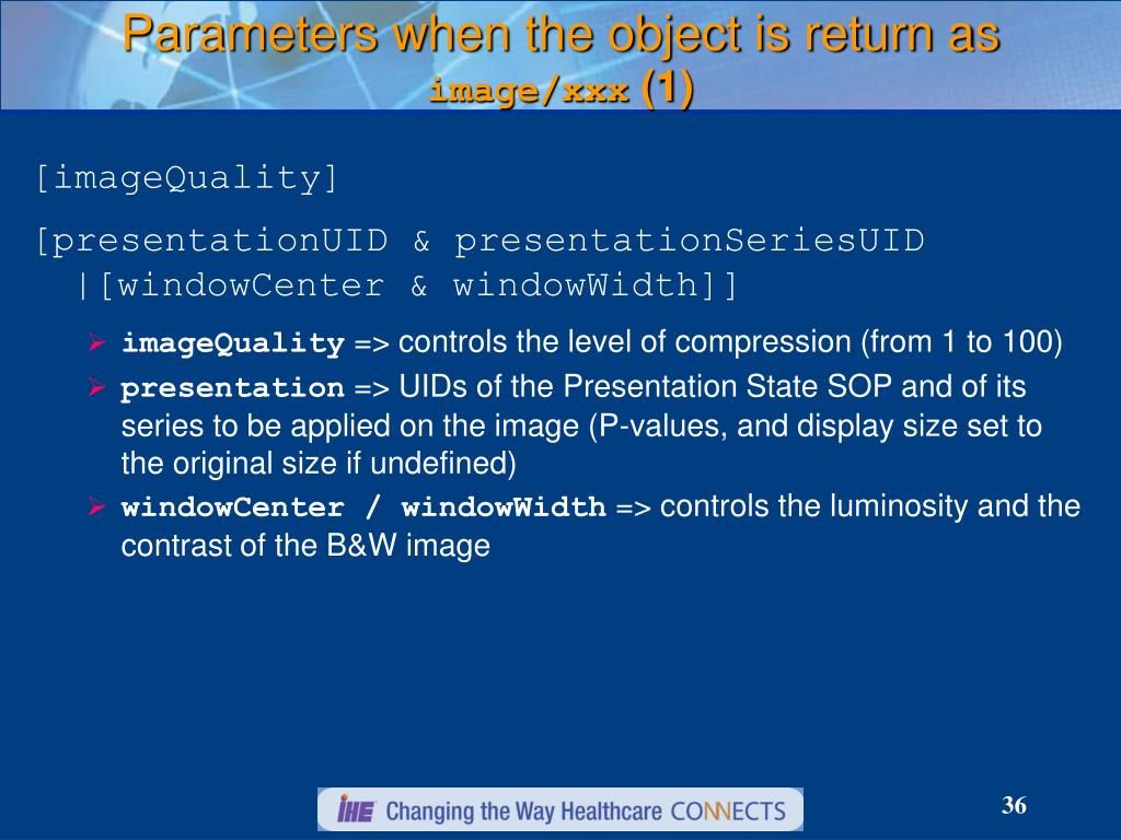 Parameters when the object is return as