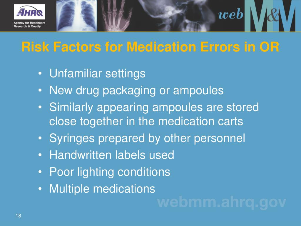 Risk Factors for Medication Errors in OR