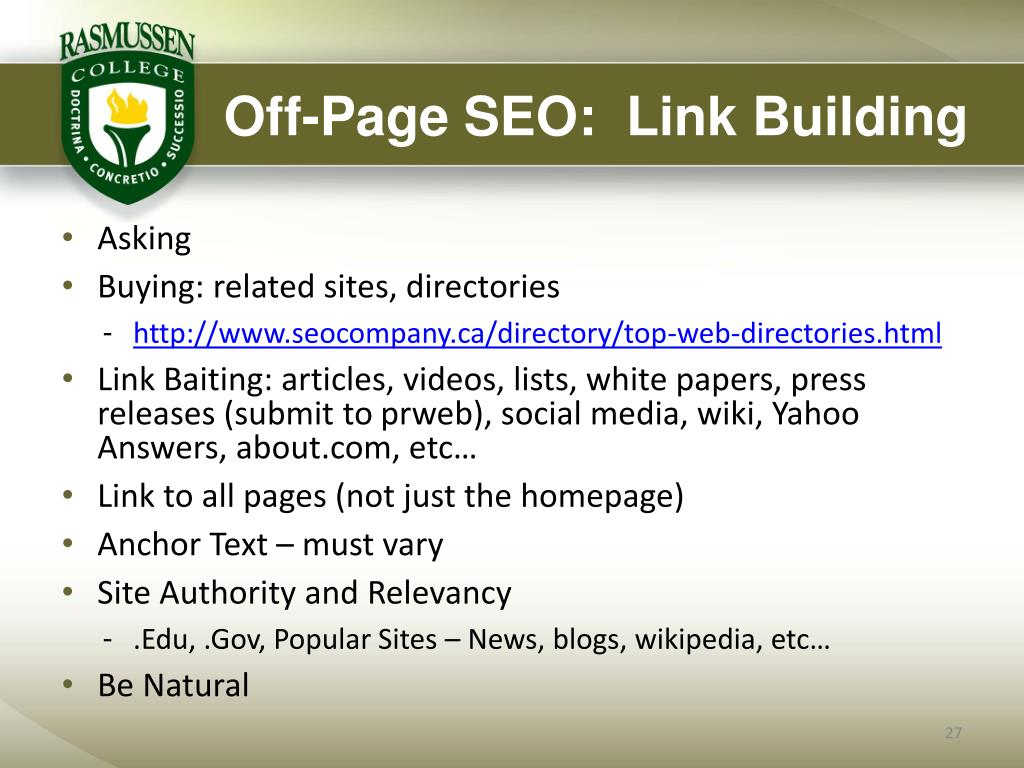 Off-Page SEO:  Link Building