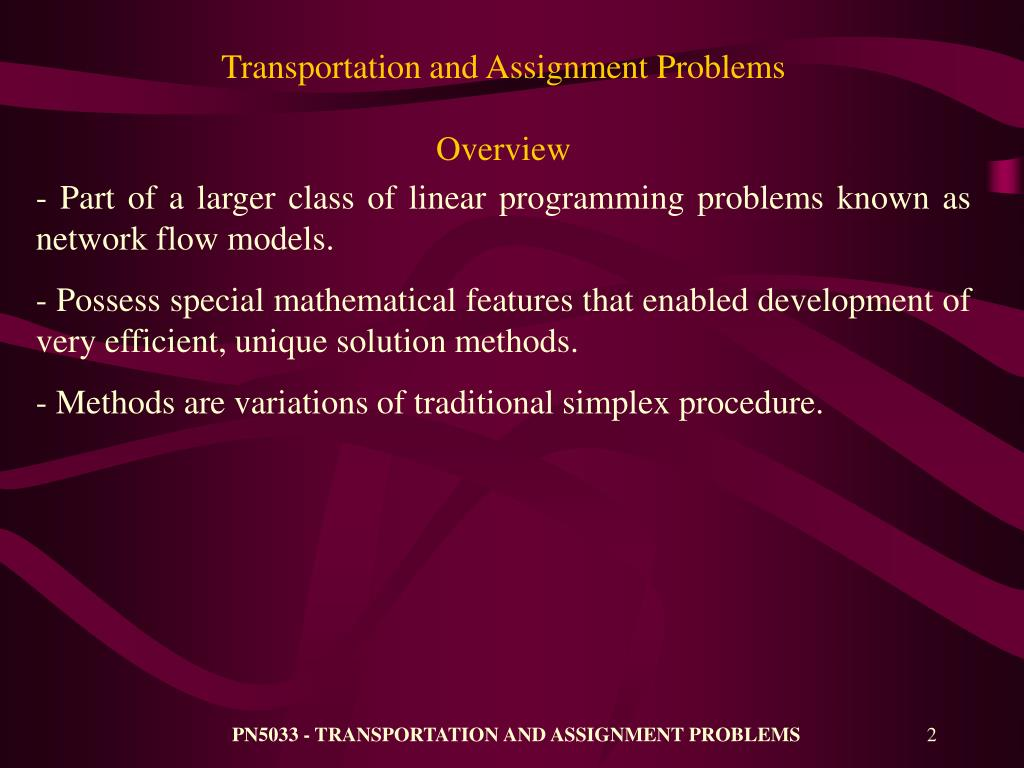 transportation assignment problem