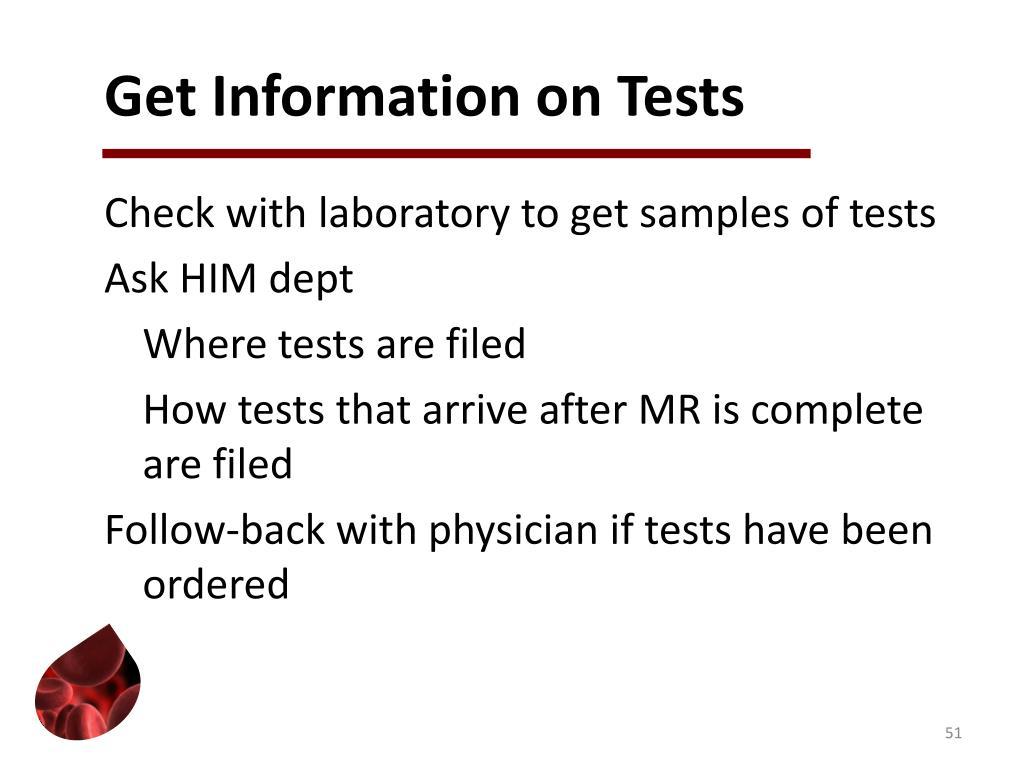 Get Information on Tests