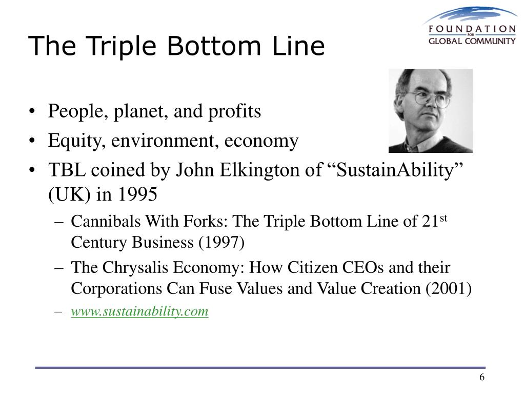 cannibals with forks the triple bottom line of 21st century business Gary shaffer explains how triple bottom line sustainability  wrote in cannibals with forks: triple bottom line of 21st century business (1999).