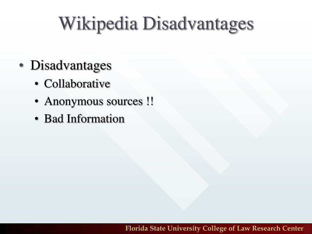 Wikipedia Disadvantages