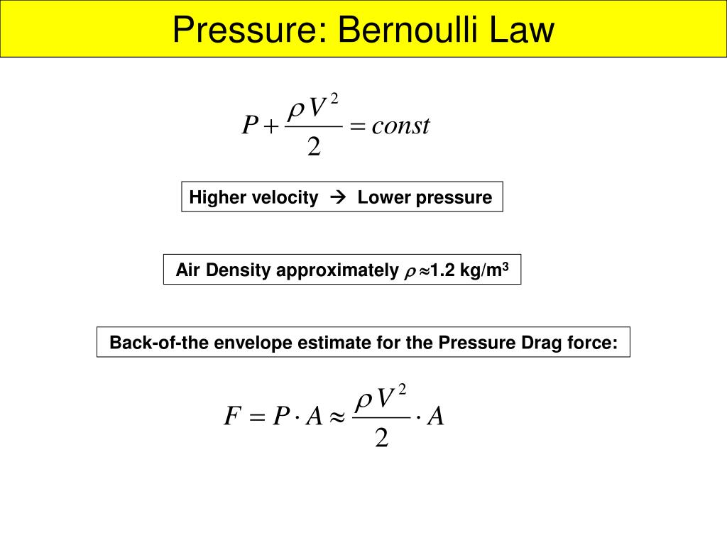 Pressure: Bernoulli Law