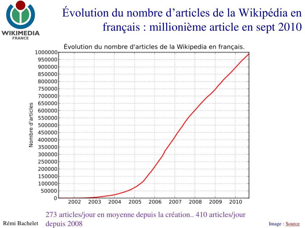 Évolution du nombre d'articles de la Wikipédia en français : millionième article en sept 2010