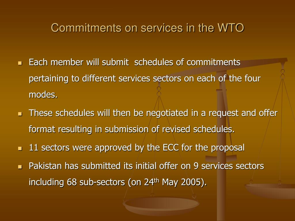 Commitments on services in the WTO