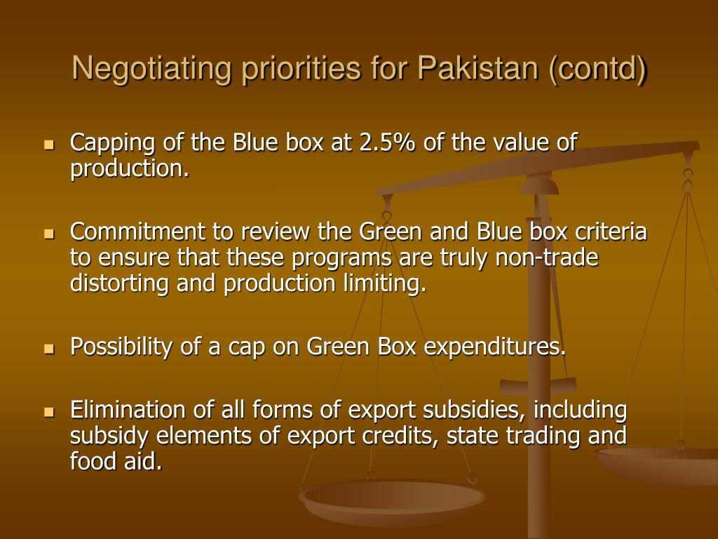 Negotiating priorities for Pakistan (contd)