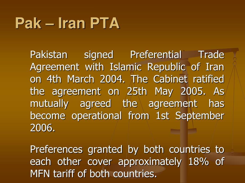 Pak – Iran PTA