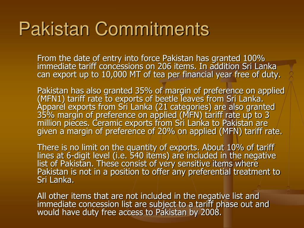 Pakistan Commitments