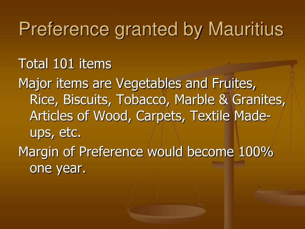 Preference granted by Mauritius