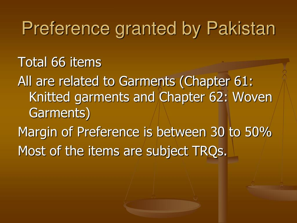 Preference granted by Pakistan