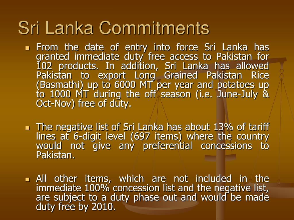 Sri Lanka Commitments
