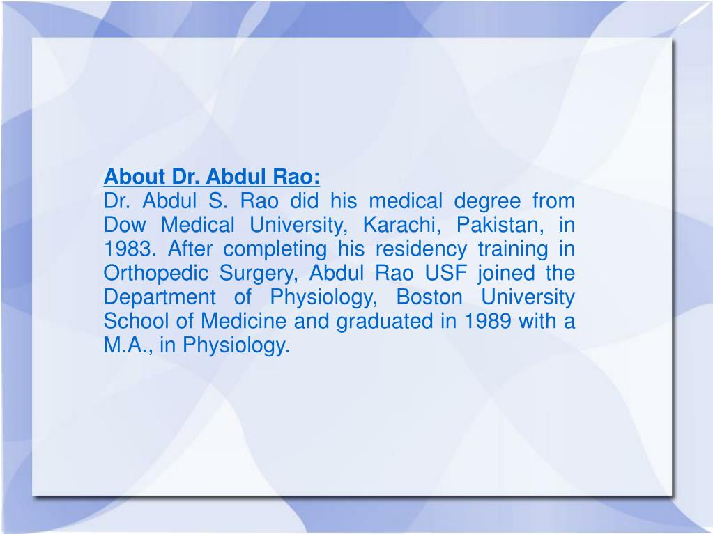 About Dr. Abdul Rao: