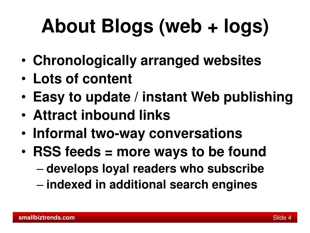 About Blogs (web + logs)