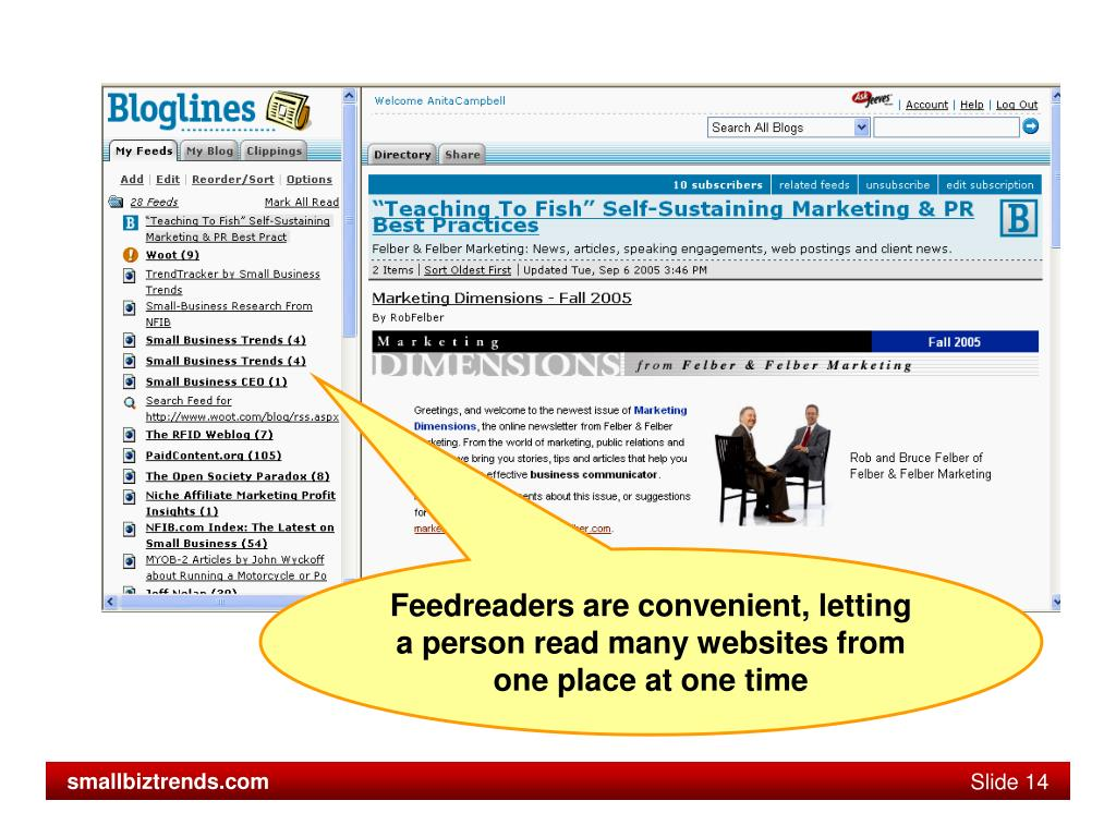Feedreaders are convenient, letting a person read many websites from one place at one time