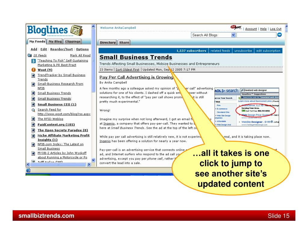 …all it takes is one click to jump to see another site's updated content
