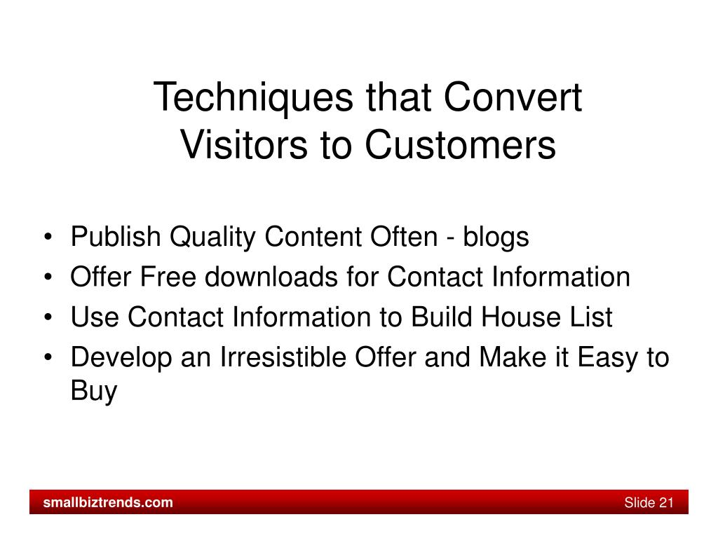 Techniques that Convert Visitors to Customers