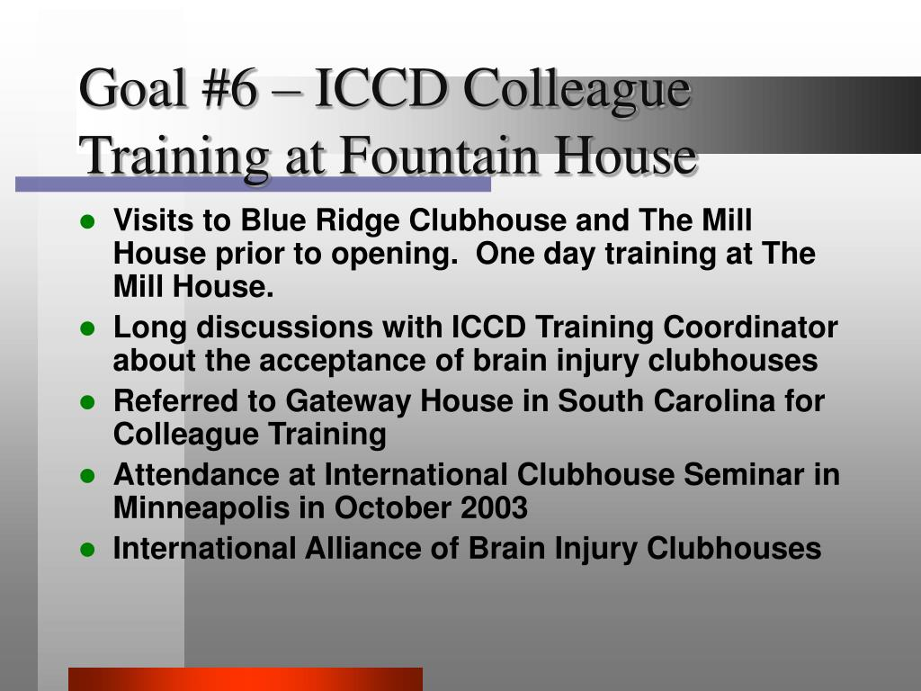 Goal #6 – ICCD Colleague Training at Fountain House
