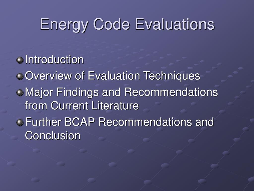 Energy Code Evaluations