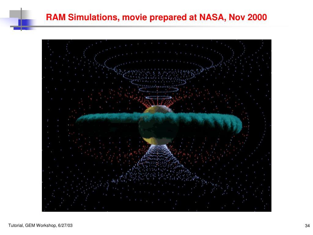 RAM Simulations, movie prepared at NASA, Nov 2000