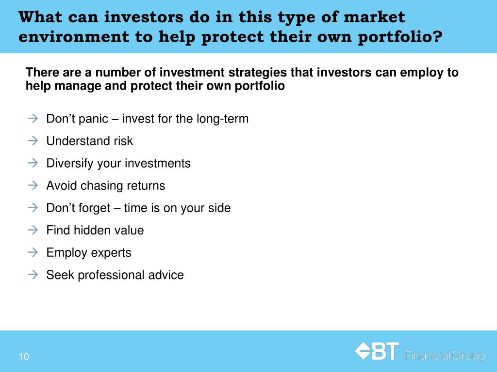 What can investors do in this type of market environment to help protect their own portfolio?