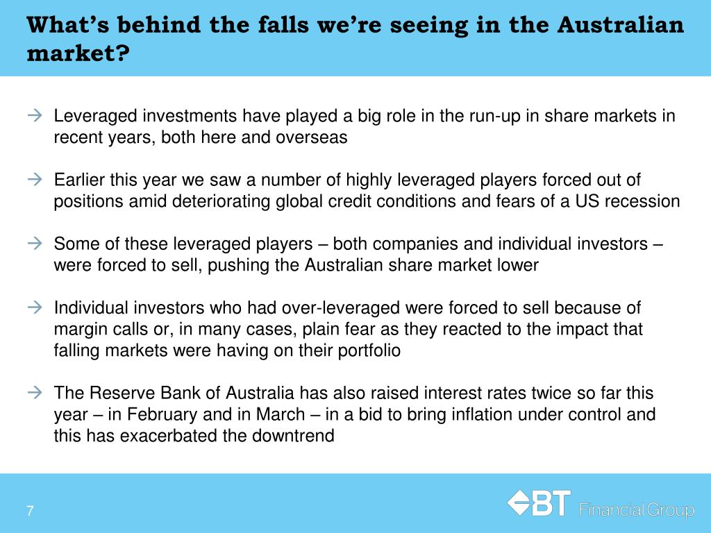 What's behind the falls we're seeing in the Australian market?