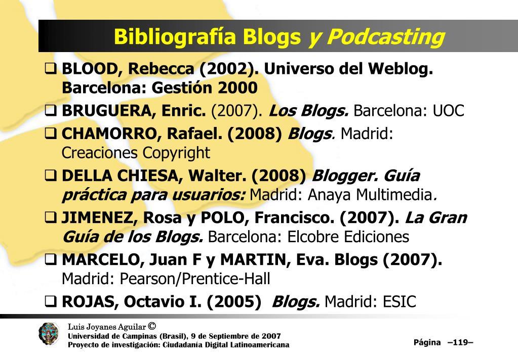 Bibliografía Blogs