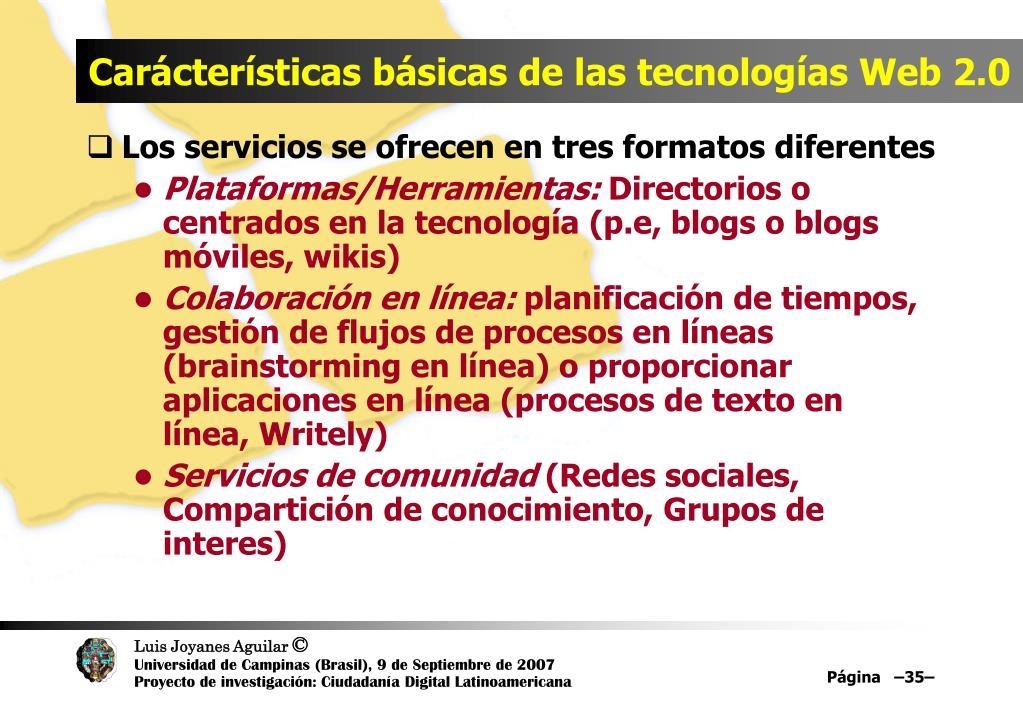 Carácterísticas básicas de las tecnologías Web 2.0