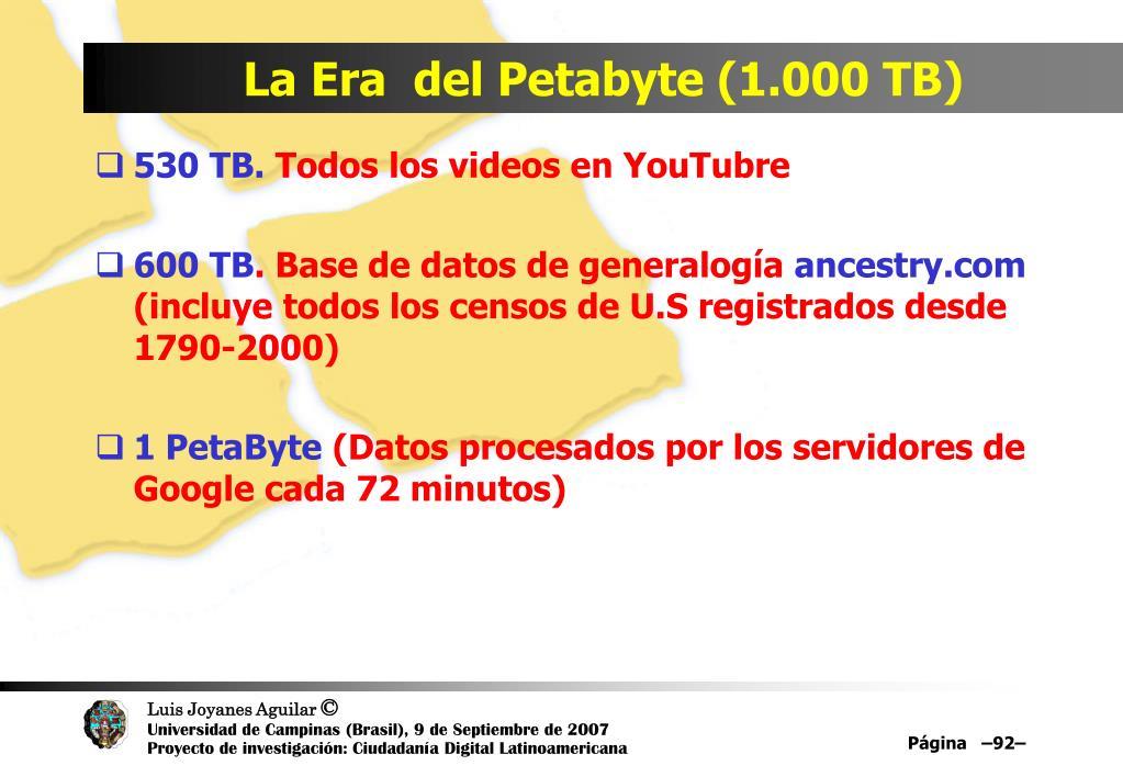 La Era  del Petabyte (1.000 TB)
